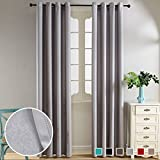 Top Finel Thermal Insulated Solid Window Treatments Velvet 80% Blackout Curtain Panels Grommets Top For Living Room 52 x 96 inch length Set of 2 Panels Gray