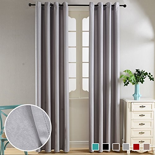 Top Finel Thermal Insulated Solid Window Faux Velvet Curtains for Bedroom Living Room Drapes 52 x 96 inch length 2 panels,Grey,Grommets