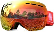 Snowledge Ski Snow Goggles for Men Women Adult,OTG Snowboard Goggles of Dual Lens with Anti Fog for UV Protect