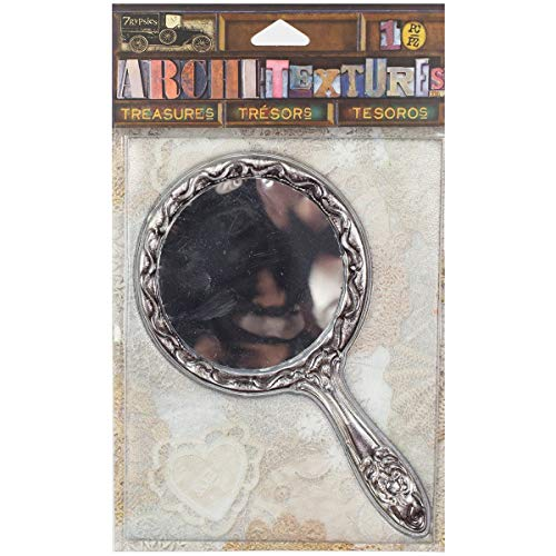 7 Gypsies Architextures Treasures Adhesive Embellishments - Tarnished Silver Handle Mirror 4.75