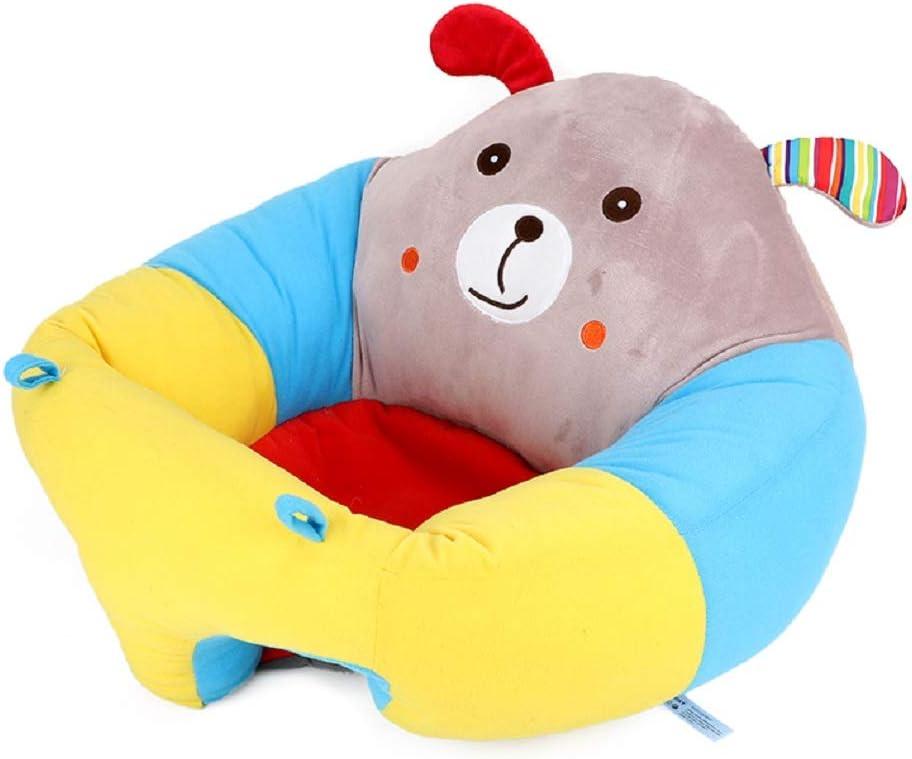 Greetuny Asiento de apoyo para bebé Suave Dibujos animados Redondos Sofá de bebé para Aprender a Sentarse Lindo Almohada de Asientode Felpa (Cachorro)