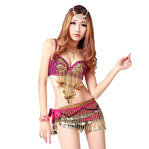 Sexy Belly Dance Pole Dancing Jazz Dance Clothes (M, Rose) (Sexy Belly Dance Costumes)