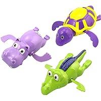 TOYANDONA 3pcs Wind Up Bath Toys Baby Bath Toy Bathtub Pool Toys Toddlers Floating Toys Animal Clockwork Toy for Goodie…