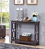 Espresso Finish 2-Tier Square Design Occasional Console Sofa Table Bookshelf For Sale