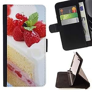 For Sony Xperia Z1 L39 Case , Torta de la fruta de la frambuesa Macro- la tarjeta de Crédito Slots PU Funda de cuero Monedero caso cubierta de piel