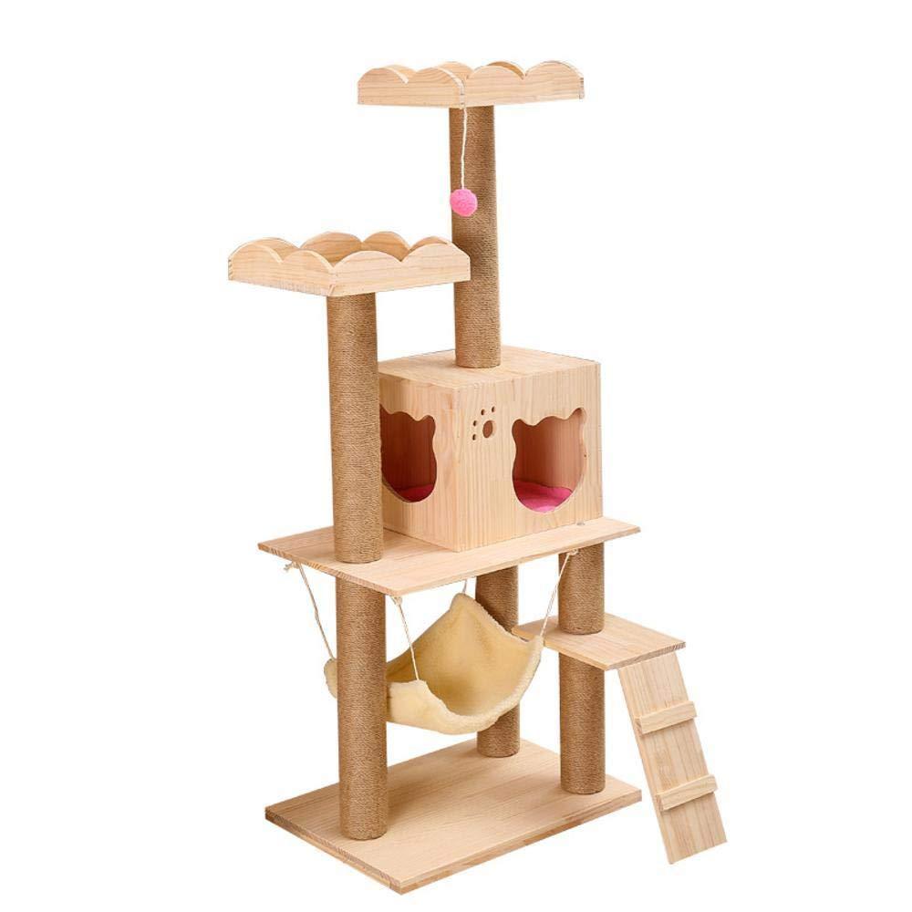 Hexiansheng Cat Climb Trees Cat Litter Cat Tree Cat Scratch Board wooden cat cat toy Wood 60  40  142cm