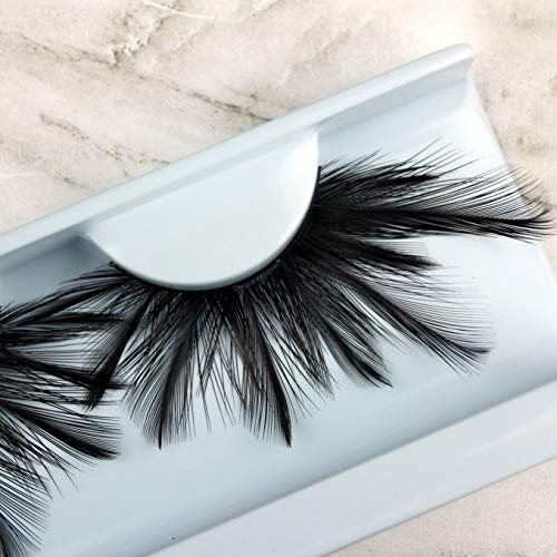 Elegant Lashes F404 Premium Black Feather False Eyelashes Halloween Dance Rave Costume]()