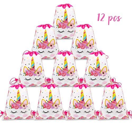 12 Pack Unicorn Drawstring Party Bag, Unicorn Drawstring Backpacks Gifts Bags Birthday Party Supplies Favor Bag for kids Children Girls Baby Shower ()