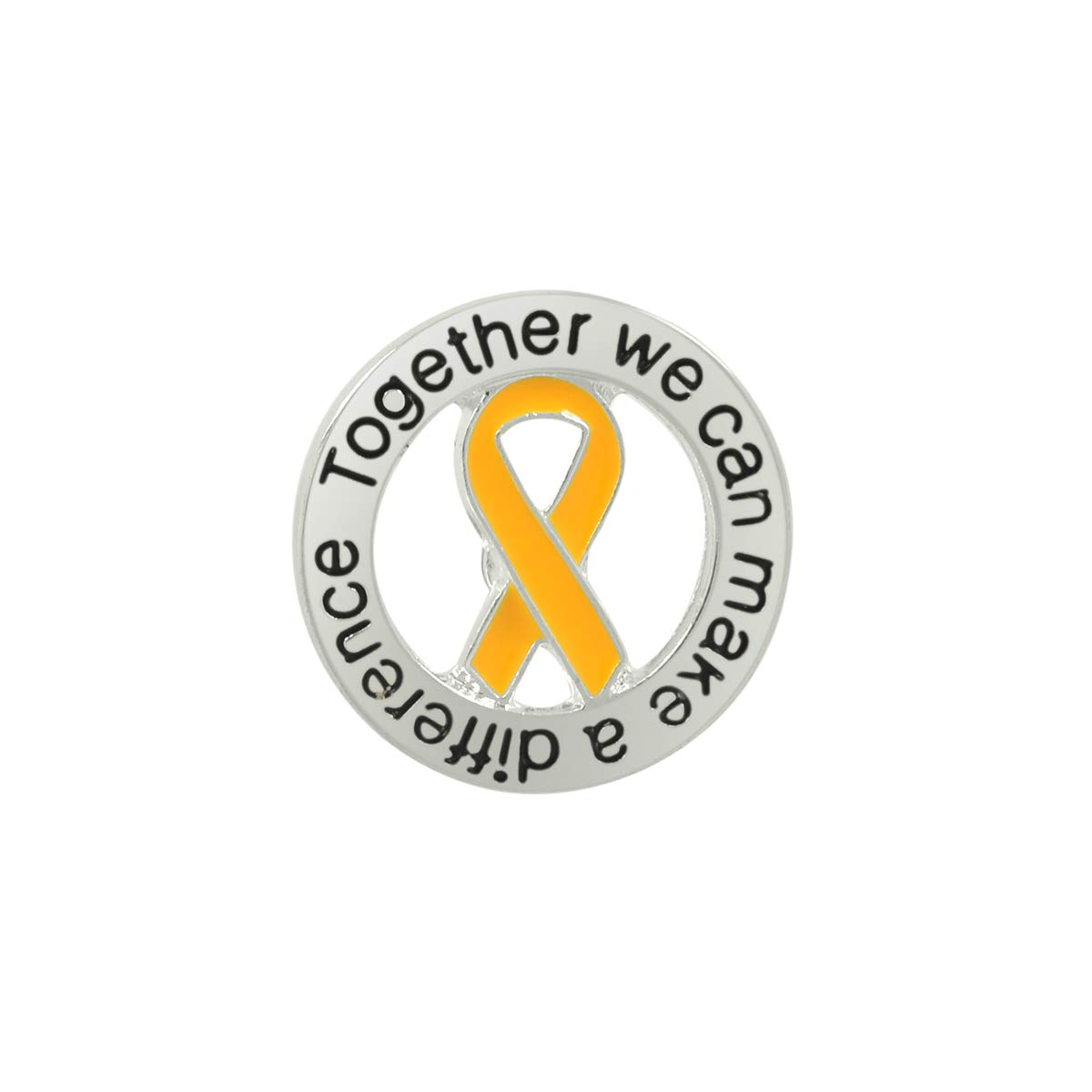 25 Pack Gold Ribbon Round Awareness Pins (25 Pins in a Bag) by Fundraising For A Cause