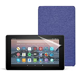 Fire 7 Essentials Bundle with Fire 7 Tablet (8 GB, Black), Amazon Cover (Cobalt Purple) and Screen Protector (Clear)