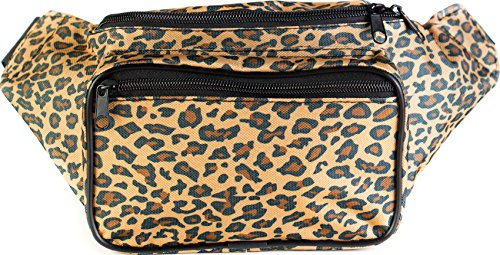 SoJourner Bags Cheetah Fanny Pack, Tan (Print Metallic Lizard)