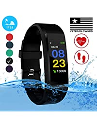 Burn-Rate Fitness Tracker Heart Rate Monitor - Smart Watches for Women & Men, Kids Color Smart Watch Fit Bracelet. Reloj Inteligente band Pedometer, Waterproof, Distance Activity bit for Android & iOS