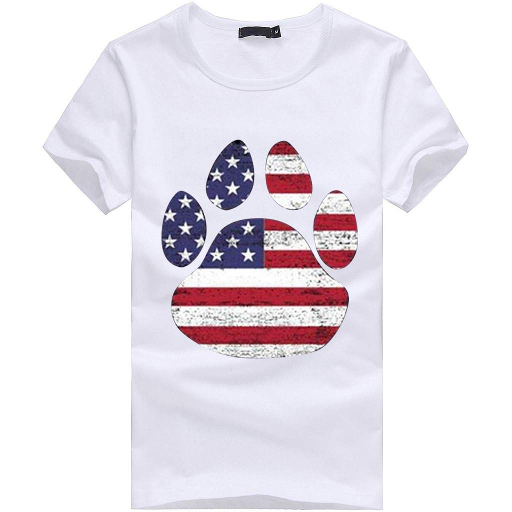 Womens Shirts Plus Size Dog Claw Printed Independence Day Girls Short Sleeve T-Shirt Blouse Tops