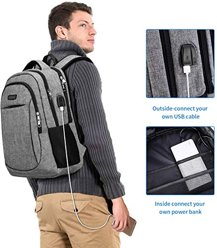 Travel Laptop BackpackIIYBC Anti Theft Laptop Bag with USB Charging Port and Headphone Interface