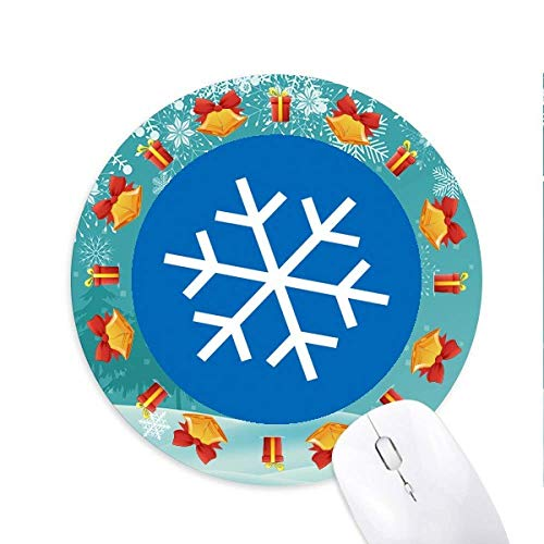 Winter Sport Snowflake Blue Silhouette Mousepad Round Rubber Mouse Pad Christmas Gift