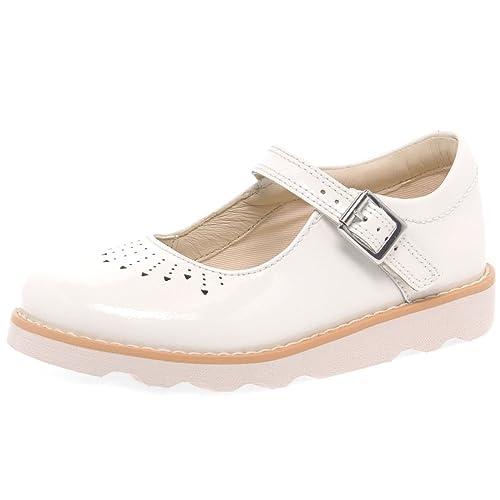 914cfa68c6a6e Clarks Crown Jump - Zapatos de Cordones de Piel para Niña Blanco Blanco   Amazon.es  Zapatos y complementos