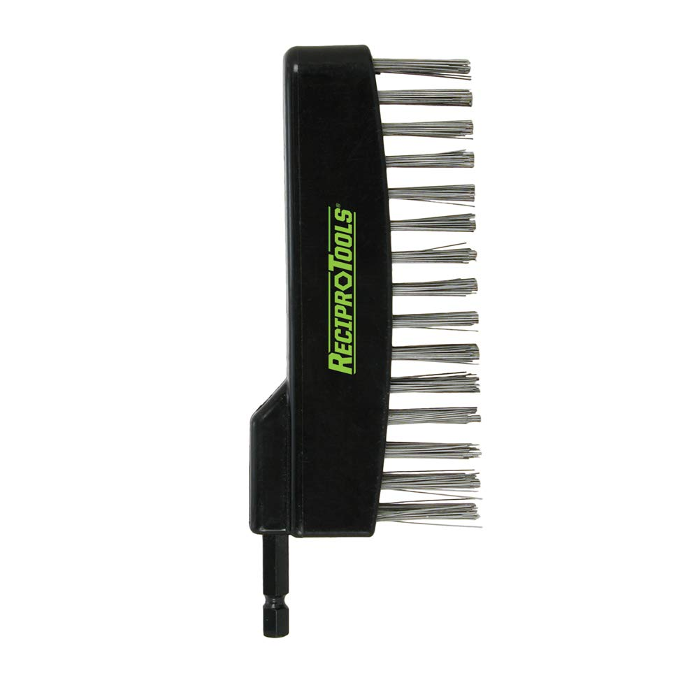 Reciprotools RCT-ST10-B Stainless Steel Straight Brush Accessory Attachment,Black/Brown,Small