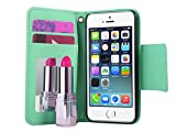 5c ulak full protection - ULAK PU Leather Wallet Case for Apple iPhone 5S 5 with Make-up mirror inside Credit Card Holder and Magnet Design Flip Stand Cover (Pink+Blue)