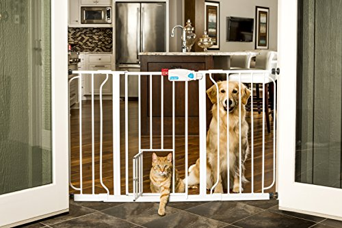 Carlson 0930PW Extra-Wide Walk-Thru Gate with Pet Door White