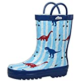 JAN & JUL Natural Rubber Rain Boots Toddler Boys Kids (Toddler Size 5 with Handles, Dino)