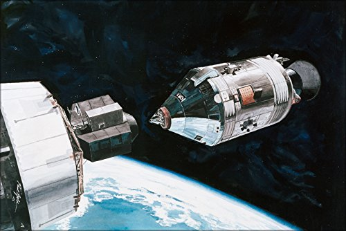 20x30 Poster; Artists Concept Of Apollo Soyuz Docking Maneuver 1975