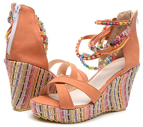 Sandals Orange Beaded Sexy Women Odema Peep Bohemian Wedge toe Platform Summer 4CfOwpzOq