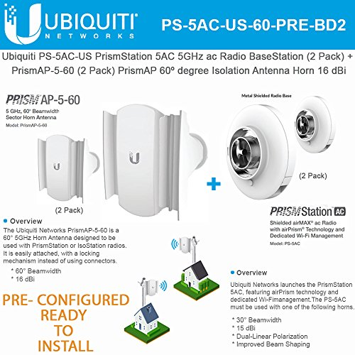 PrismStation AC PS-5AC-US 5GHz Shielded airMAX ac Radio BaseStation PRE-CONFIGURED (2 Units) with Horn Antenna PrismAP-5-60 (2 Units) READY-TO-INSTALL by UBNT Systems (Image #1)