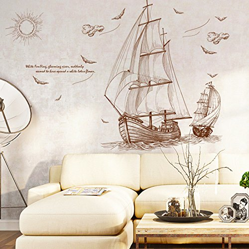 ORDERIN Sailboat Wall Stickers Removable Mural Wall Decal for Bedrooms and Nurseries Room and Sofa Background Wall Home (Sailboat Wall Stickers)