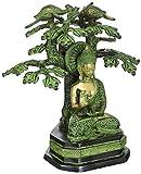 AapnoCraft Vintage Tree Buddha Statue - Brass Handmade Thai Buddha Sculpture Buddha Sitting Under Tree Yin Figurine Feng Shui Gifts