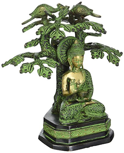 AapnoCraft Vintage Tree Buddha Statue - Brass Handmade Thai Buddha Sculpture Buddha Sitting Under Tree Yin Figurine Feng Shui Gifts by AapnoCraft