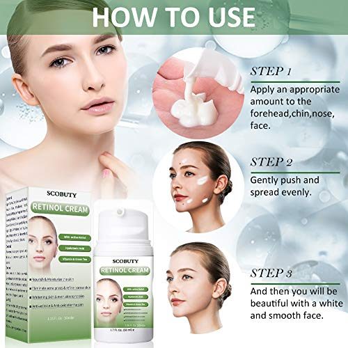51S8yGBKaTL - Retinol Cream,Retinol Moisturizer Cream,Retinol Day Night Cream,Anti Aging Cream with Active Retinol Hyaluronic Acid for Face Eye Area Wrinkles Fine Lines Firming Skin