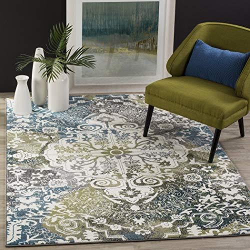 NA 2'7 x 5' Watercolor Bohemian Medallion Peacock Blue Area Rug, Polypropylene Vibrant Abstract Print Soft Plush Blue Green Ivory Multi Color Paint, Rectangle Livingroom Indoor Accent Carpet