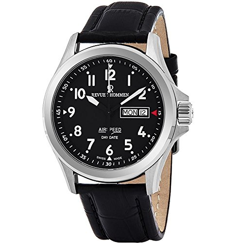 Revue Thommen Air Speed Pilot 42 MM Mens Black Dial Black Leather Automatic Day Date Swiss Watch 16020.2537