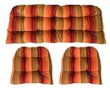 Sunbrella Astoria Sunset 3 Piece Wicker Cushion Set - Indoor / Outdoor Wicker Loveseat Settee & 2 Matching Chair Cushions - Orange. Red & Tan