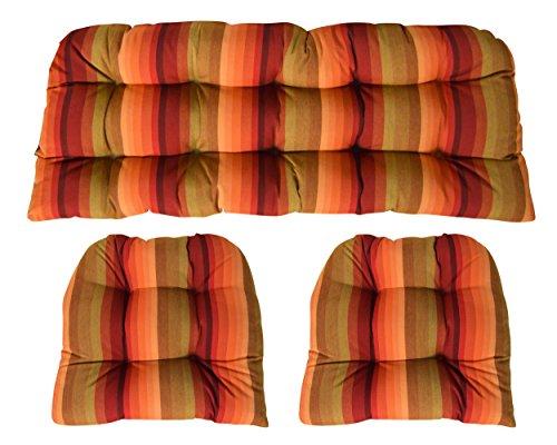 RSH Decor Sunbrella Astoria Sunset 3 Piece Wicker Cushion Set - Indoor/Outdoor Wicker Loveseat Settee & 2 Matching Chair Cushions - Orange Red & ()