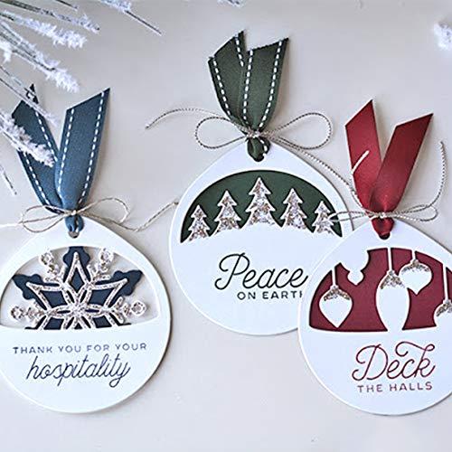 New Christmas Tag Cutting Dies,Letmefun Metal Cutting Dies Stencils Frame Border Dies for Scrapbooking Christmas Gift Card Album Making DIY Craft Diecut