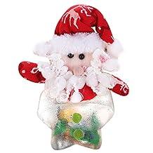 Mini Candy Box by Whitelotous, 1 PC Christmas Theme Plastic Transparent Candy Box Bag Storage Bottle Holder Christmas Decor Gift (Star Shape, Santa claus)
