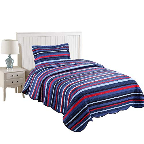 (MarCielo 2 Piece Kids Bedspread Quilts Set Throw Blanket for Teens Boys Girls Bed Printed Bedding Coverlet, Twin Size, Blue Striped (Twin))