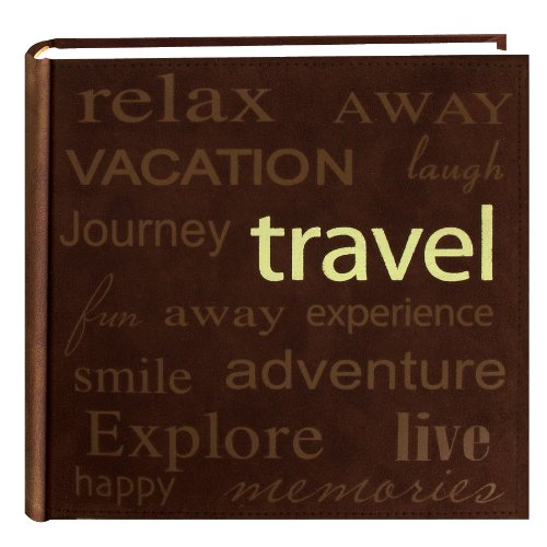Pioneer ''Travel'' Text Design Sewn Faux Suede Cover Photo Album, Brown by Pioneer Photo Albums