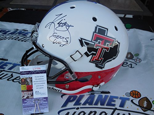 Kliff Kingsbury signed Texas Tech TTU Red Raiders full size TEXAS FLAG helmet w/ Guns Up! JSA COA