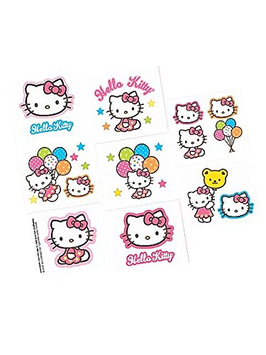 Adorable Hello Kitty Temporary Tattoos Birthday Party Favours (16 Pack), Multi Color, 2