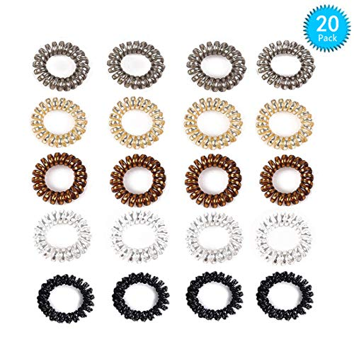Plastic Tail Holder - Spiral Hair Ties 20 Pcs Hair Rubber Bands Ponytail Holders for Women Girls Plastic Coil Hair Ties phone Cord Hair Tie Set