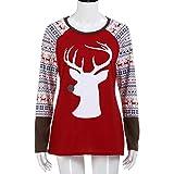 Gocheaper Womens Deer Printed Long Sleeve Christmas Shirt Casual Blouse Tops T-Shirt (L, Red)