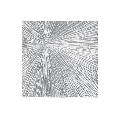MADISON PARK SIGNATURE Sunburst Silver Wall Art - Modern Resin Dimensional Radiant Color Home Décor Abstract Metallic Textured on Palm Deco Box, Sliver