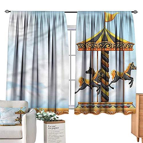 (Mannwarehouse Sliding Curtains Outdoor Carousel Amusement Park W55 xL63 Suitable for Bedroom,Living,Room,Study,etc.)