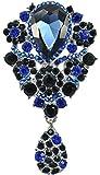 Gyn&Joy Women's Austrian Crystal Silver-Tone Vintage Flower Teardrop Large Brooch Pin Pendant BZ024