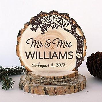 Amazon.com: Rustic Wedding Cake Topper. Engagement Love Tree Cake ...