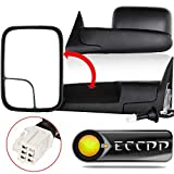 ECCPP Towing Mirrors W/Brackets Replacement fit for 1998 1999 2000 2001 Dodge Ram 1500 2500 3500 Truck Power Heated Black Manual Side View Mirrors