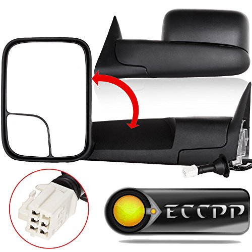 - ECCPP Power Heated Black Manual Side View Mirror Tow Towing Mirrors W/Brackets Replacement fit for 98-01 Dodge Ram 1500, 98-02 Ram 2500 3500 Truck Pickup Pair Let&Right