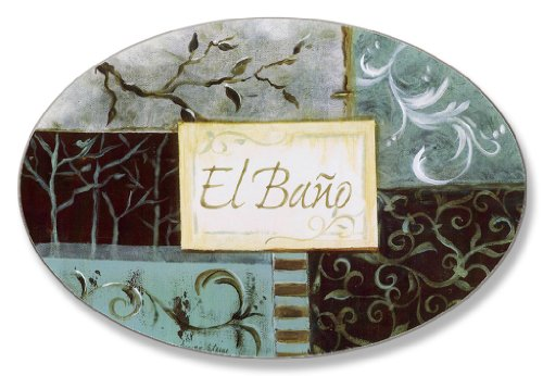 Stupell Dark Grey and Aqua Patchwork El Bano  Bath Plaque